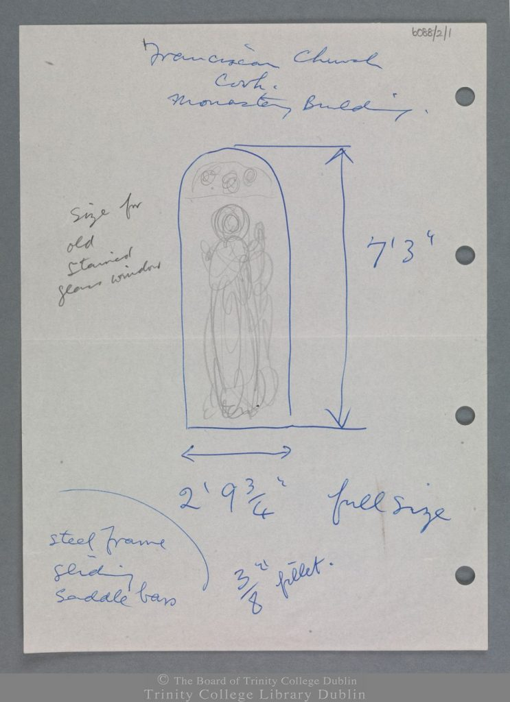 Notes and pencil sketch for a stained-glass window with an unidentified standing figure, done by the Harry Clarke Studios for St Francis Church, Cork. The image is from the Board of Trinity College Dublin.