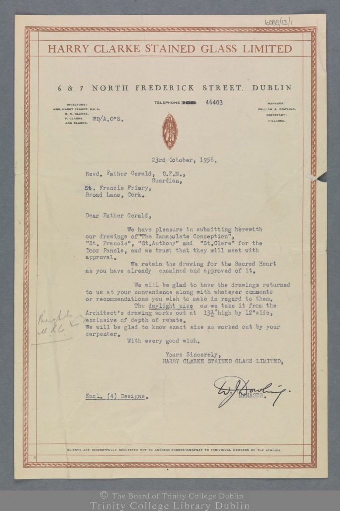 Letter from William Dowling to Rev. Father Gerald submitting designs for stained-glass windows for St Francis Church, Cork. The image is from the Board of Trinity College Dublin.