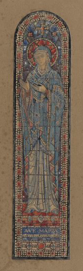 The image on the left is a colour design for a stained glass window of the Virgin Mary and it is from the Board of Trinity College Dublin.