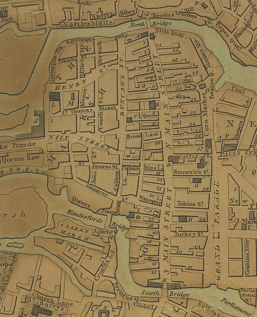 Map of Cork in 1801 showing North Main Street and the laneways off that street. Broad Lane is one of these.