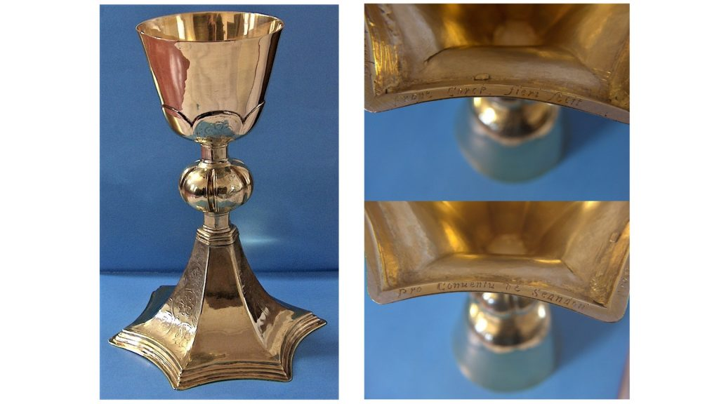 Three images of the William Ferris Chalice. One shows the chalice in its entirety and the other two show the inscription on the foot of the chalice.