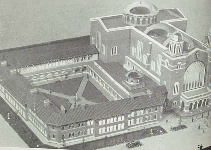 A model of the new Franciscan friary which is to the left of a model of St Francis Church.