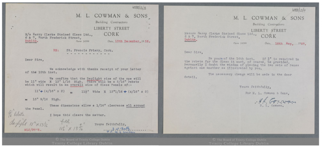 Letters from M.L. Cowman of M.L. Cowman & Sons Building Contractors to the Harry Clarke Studios regarding measurements for glass panels at St Francis Church, Cork. The images are from the Board of Trinity College Dublin.