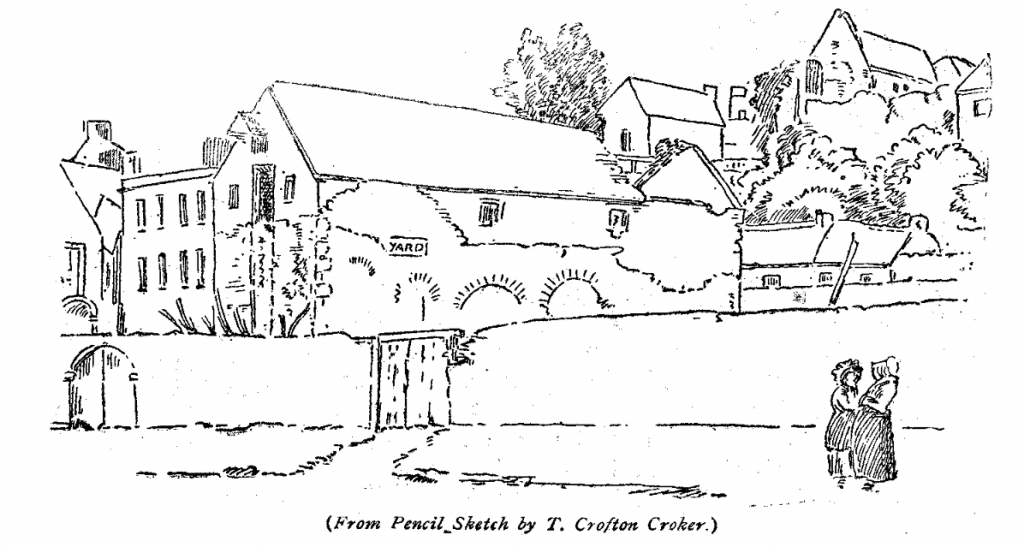 A sketch showing arches from the old medieval friary on the now North Mall in Cork. These arches are surrounded by buildings.