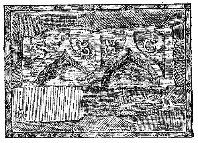 Drawing of a double ogee-headed window, now inserted into the wall on Wise's Hill. The letters S, B, M and C are present on the stone.