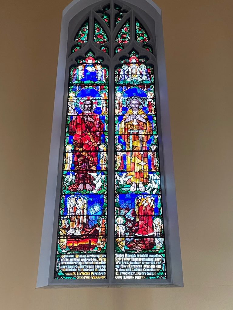 Photograph of the Father Thomas Dowling, OSFC, stained glass Memorial Window, in the Holy Trinity Church, Cork.