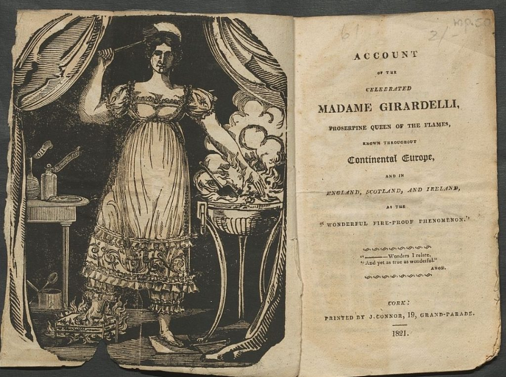 Title page of 'Account of the celebrated Madame Girardelli, Proserpine Queen of the Flames.' The frontispiece opposite shows Madame Girardelli with her right foot and left hand in coals.