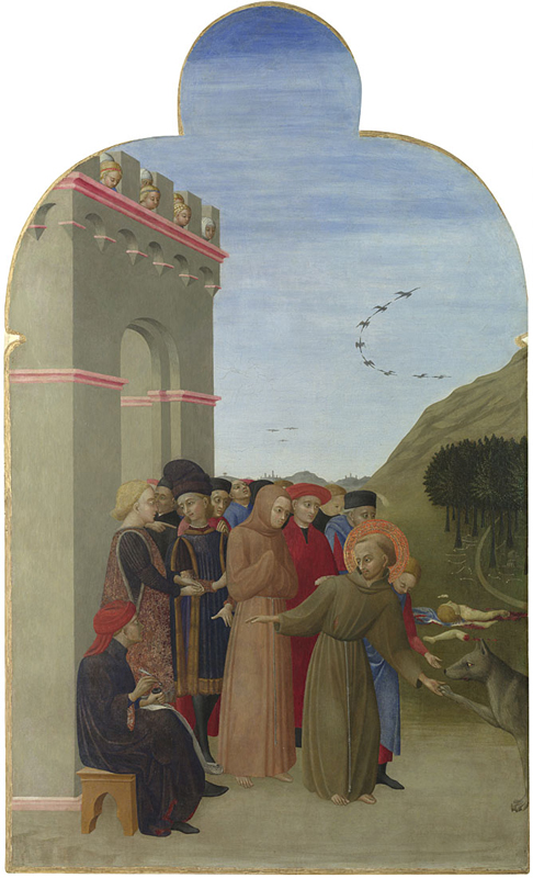 A painting showing St Francis of Assisi holding the paw of a wolf. Other people stand behind him and another person sits to one side.
