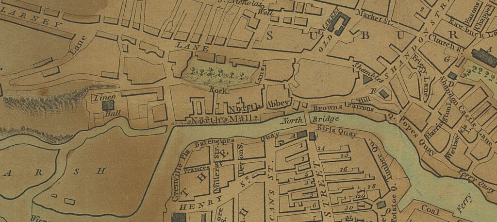 Detail from William Beauford's map of Cork focusing on the North Mall which includes a reference to 'North Abbey.'