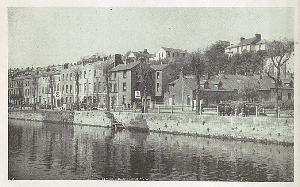 Photo of North Mall in Cork. Two points are placed on the photograph to indicate where remains of the old medieval friary were.