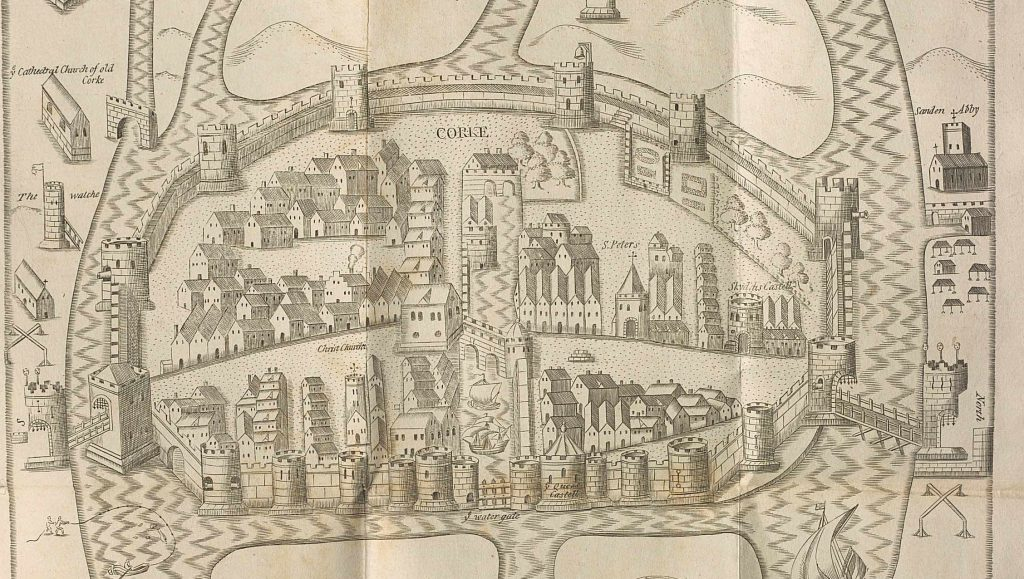 A 17th century map of Cork oriented west-east. The Franciscan friary is on the right of the map. The city is walled and surrounded by river.