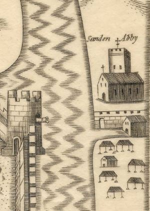 Map of 17th century Cork showing the words 'Sanden Abby' and a drawing of the building outside the walls of Cork.