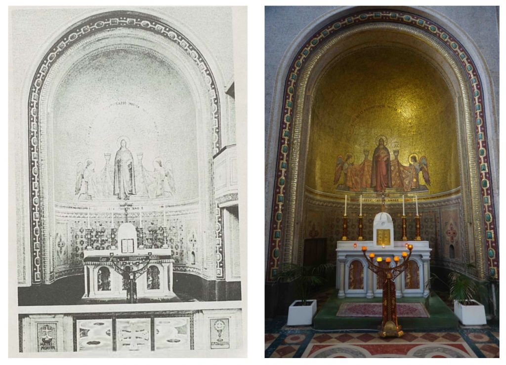 """Two views of the Altar of the Sacred Heart in St Francis Church in Cork. One is a photo taken in 2021 and the other is a picture from """"St Francis Church: An Illustrated Guide."""""""