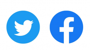 Logos for Twitter and Facebook.