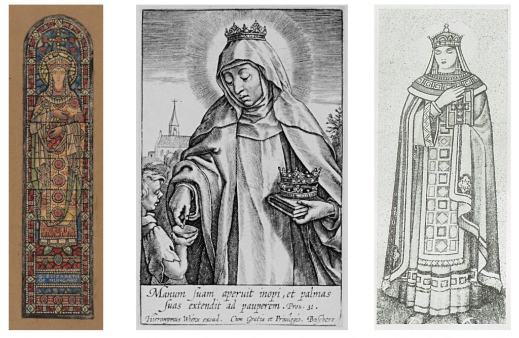 """Three images of St Elizabeth of Hungary. The image on the left is a colour design for a stained glass window and it is from the Board of Trinity College Dublin. The image in the centre is a a black & white print of St Elizabeth giving aid to a young boy. The image on the right is a black & white drawing of a mosaic from """"Franciscan Cork: Souvenir of St. Francis Church, Cork."""""""