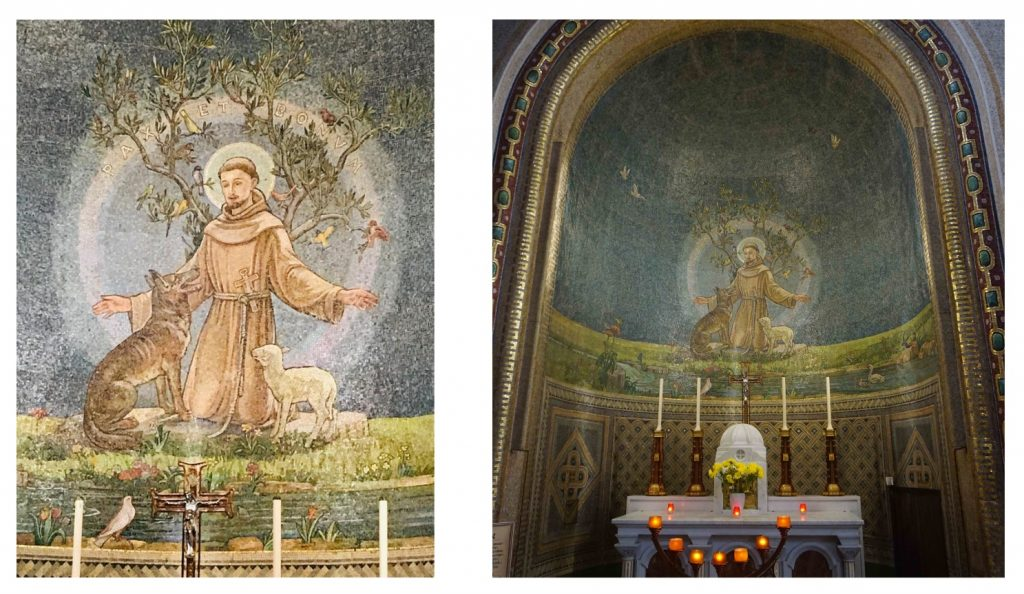 Two views of the Altar of the Sacred Heart in St Francis Church in Cork. Both are photos taken in 2021.