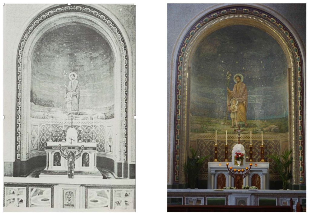 """Two views of the Altar of St Joseph in St Francis Church in Cork. One is a photo taken in 2021 and the other is a picture from """"St Francis Church: An Illustrated Guide."""""""