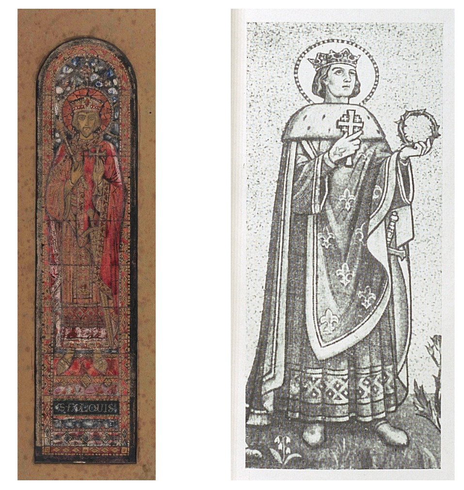 """The image on the left is a colour design for a stained glass window of St Louis and it is from the Board of Trinity College Dublin. The image on the right is a black & white drawing of a mosaic of St Louis from """"Franciscan Cork: Souvenir of St. Francis Church, Cork."""""""