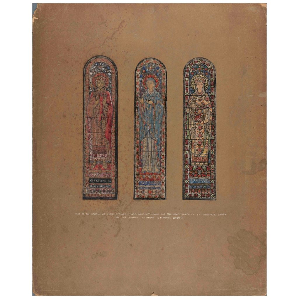 Colour design for three stained-glass windows in the church of St Francis in Cork, featuring St Louis of France, the Virgin Mary and St Elizabeth of Hungary. The image is from the Board of Trinity College Dublin.