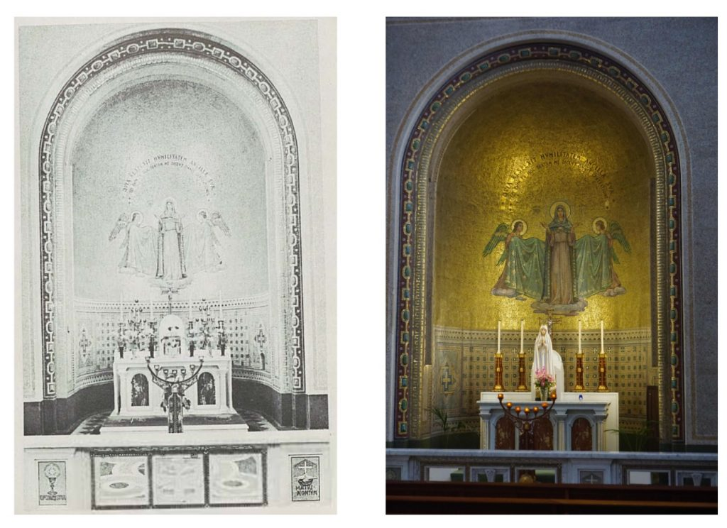 """Two views of the Altar of Our Lady in St Francis Church in Cork. One is a photo taken in 2021 and the other is a picture from """"St Francis Church: An Illustrated Guide."""""""