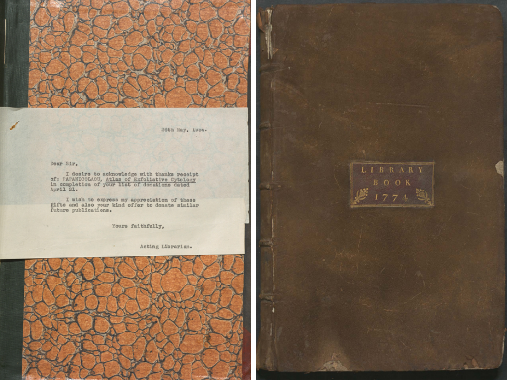 Left: The rear recto endpaper with letter insert from the Donations Book 1931-1955. The letter is typed on white paper and placed on an orange & black marbled page. Right: The front cover to the Library Book of Barne House. The binding is leather and there is a title sticker in gold showing 'Library Book 1774.'