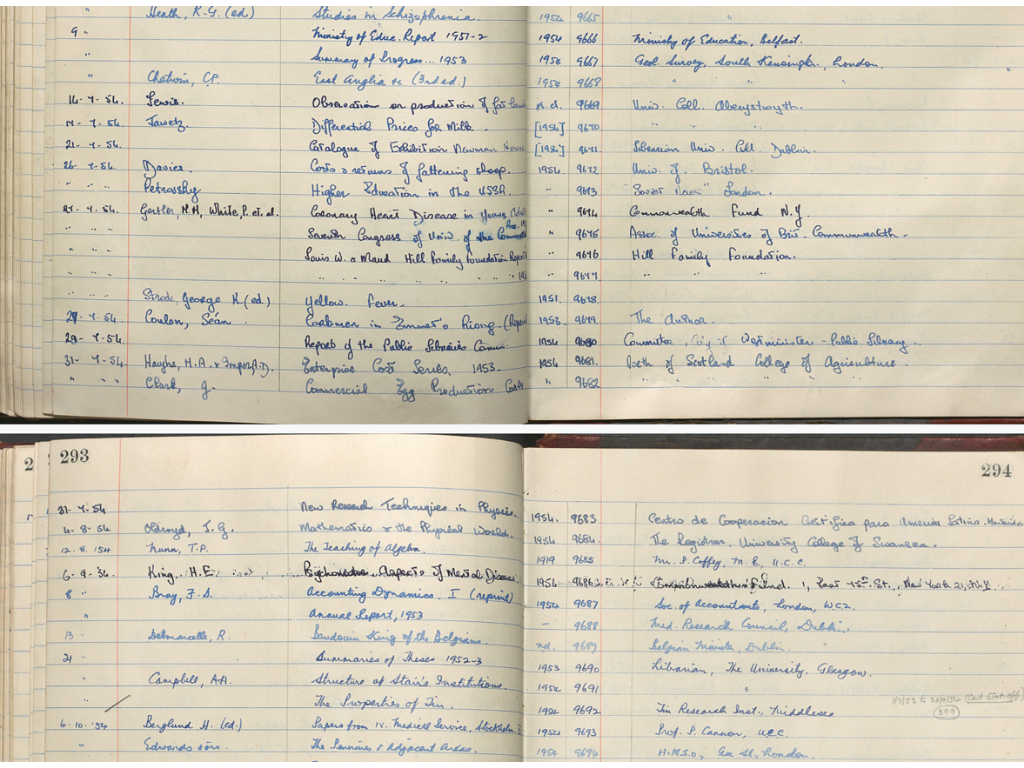 Detail from two consecutive pages in the Donations Book 1931-1955. It shows two different sets of handwriting.