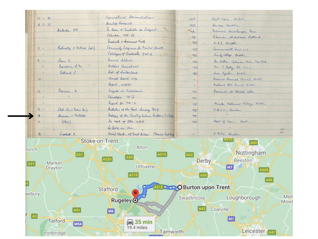 Two images: The upper one shows an arrow highlighting an entry in the Donations Book which has 'Rugeley' in the title. The lower image shows where Rugeley & Burton upon Trent are in England on Google Maps.