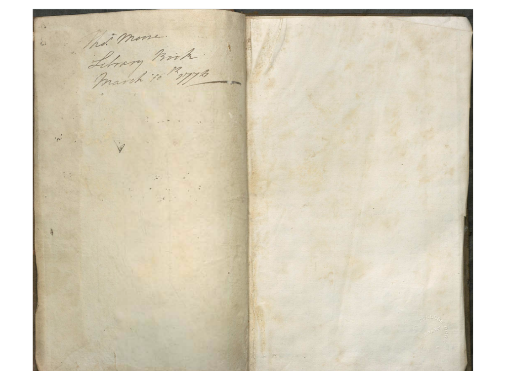 Signature of Thomas Moore on the upper left flyleaf in the Barne Library Book.